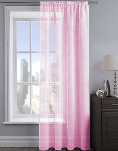 SHIMMER GLITTER SLOT TOP READY MADE STYLISH LIGHT NET VOILE CURTAIN BABY PINK COLOUR